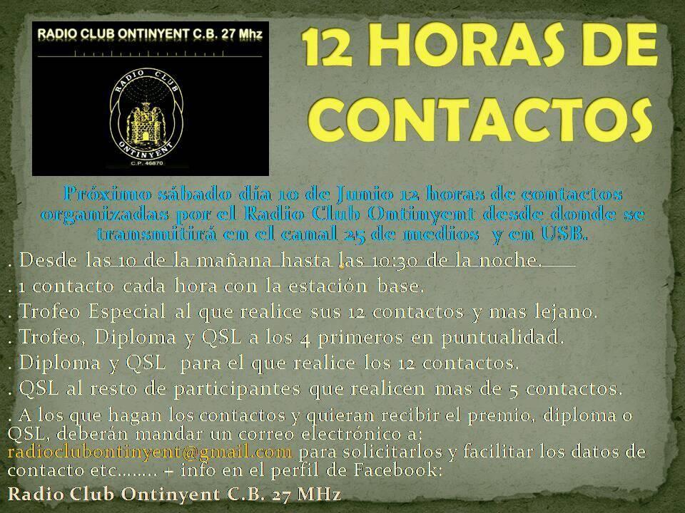 Radio Club ONTINYENT CB27Mhz organiza 12 horas de radio
