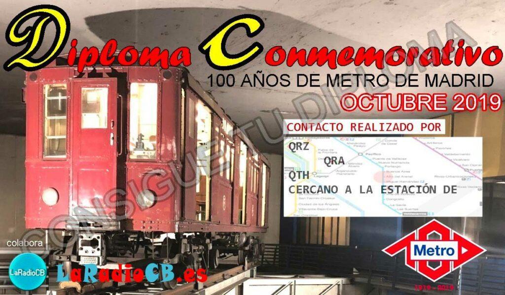 Diploma especial 100 años de Metro de Madrid